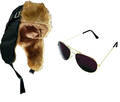 Nicky Bigs Novelties Mens Russian Aviator Hat Bomber Sunglasses Black Pilot Hat Costume Accessory - Wwii Sunglasses