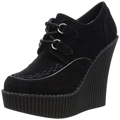 Demonia Women Cre302/Bvs Fashion Sneaker Black Vegan Suede