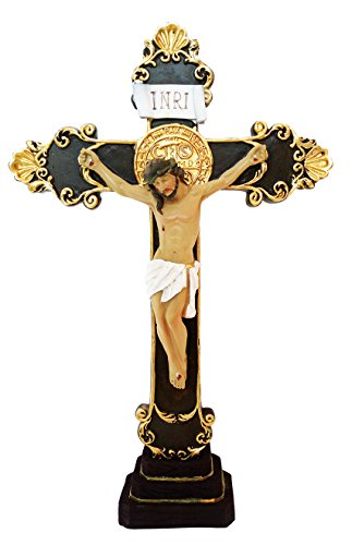 Resin Jesus Christ on Inri Cross Wall Crucifix Home Chapel Decoration with Base Can Be Hang or Stand (24 Inch) (Christ Cross Wall Jesus)