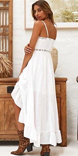 Spiaggia Boho Lunghe Da Blu Abiti Spalle Con Ufatansy Altalena Donna Pizzo Estivi Vestito In Scoperte Camicia Bianco Abito Maniche CyFUOgd