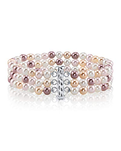 THE PEARL SOURCE Sterling Silver 6-7mm AAAA Quality Round Multicolor Freshwater Cultured Pearl Triple Strand Bracelet for Women