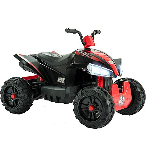 Uenjoy 12V Quad ATV for Kids 4 Wheeler Battery Powered Car Electric Ride On Car with 2 Speeds, Wheels Suspension, LED Lights, Music, Red