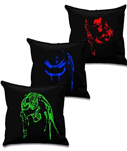 Predator Alien collection 2 - Cult film & movie cushion covers x 3 - Black canvas 8oz Cushion Covers 45x45cm square, concealed zip by Blue Ray T-Shirts