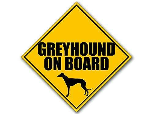 (MAGNET 5x5 inch Caution Sign Shaped GREYHOUND On Board Sticker (dog safety car safe) Magnetic vinyl bumper sticker sticks to any metal fridge, car, signs)