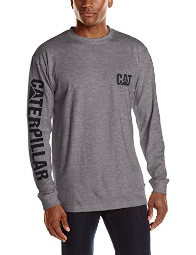 Caterpillar Men's Big and Tall Trademark Banner Long Sleeve Tee, Dark Heather Grey, (Banners For Cheap)