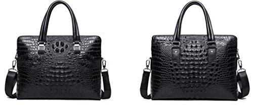 Two Embossed Genuine Leather Purse Layers Black Classic Zippers Elezay 38x43x6cm Laptop Crocodile Handbags Unisex zEWZ8nqI