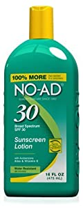NO-AD Sun Care Sunscreen Lotion, SPF 30 16 oz (Pack of 3)