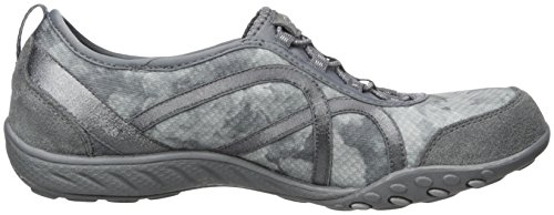 Skechers Breathe Easy Fortune, Sneakers Basses Femme Charcoal/Gray Mesh/Charcoal Suede