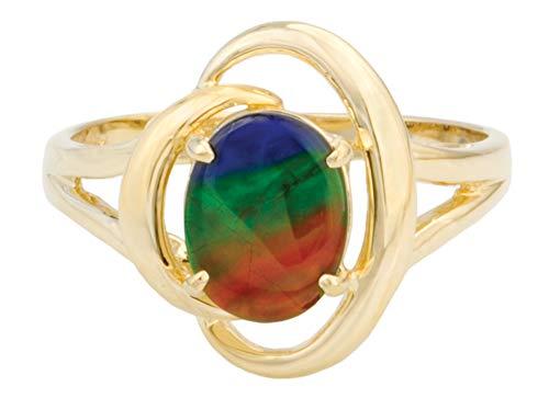 (Korite Rosalind 14K Yellow Gold Ammolite Ring Size 7)