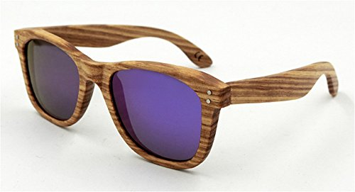 Sunglasses for Men and Women Bamboo Wood Holder Polarized Lens Sunglasses Driving Sunglassses(purple) (Sonnenbrille Mart)