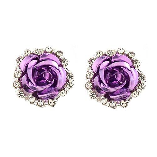 Wave Dangle (Rhinestone Earrings, Muranba Women Summer Bohemia Flower Rhinestone Earrings (Purple 32))