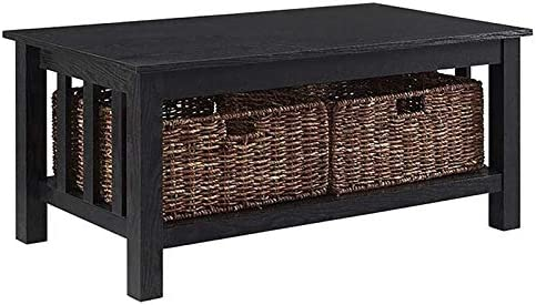 Pemberly Row 40 Wood Storage Coffee Table in Black with Baskets