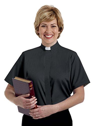 Women's Black Short Sleeve Clergy Shirt - Tab Collar