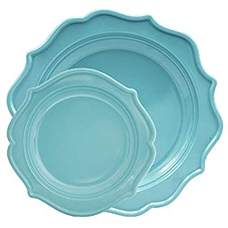 Tiger Chef 96-Pack Sky Blue - Sea Blue Color Round Scalloped Rim Disposable Plastic Plate Set for 48 Guests Includes 48 10-Inch Dinner Plates, 48 8-Inch Salad Plates - BPA-Free