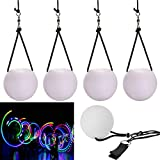GRACETOP 4pcs LED Poi Balls Thrown Balls for Professional Hip-hop, Indoor/Outdoor Activities Belly Dance Level Hand Props for Kids Gift