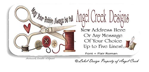 60 Personalized Return Address Labels - Craft Buttons Sewing Threads from Angel Creek Design