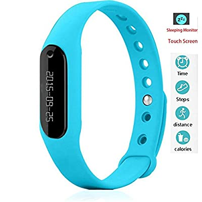Twinbuys Smart Bracelet Bluetooth 4.0 Android iOS Touch Screen Fitness Tracker Phone Message Notice Pedometer Distance Calories Counter Sleep Monitor Health Sport Wristband Blue