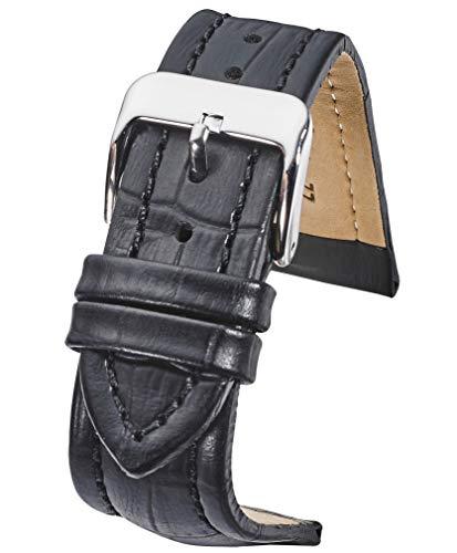 Genuine Padded Leather Watch Band in Alligator Grain Finish - Black -22mm