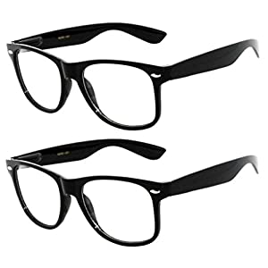 OWL - Non Prescription Glasses Clear Lens Black Frame - UV Protection (2 Pack)