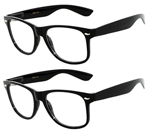 OWL - Non Prescription Glasses Clear Lens Black Frame - UV Protection (2 - Clear Glasses
