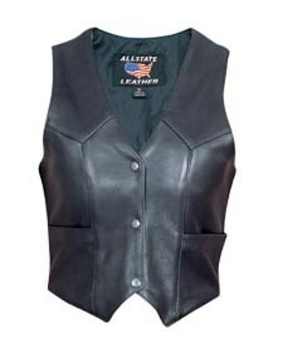 Ladies basic Leather Motorcycle vest made of Drum Dyed Naked Cowhide Leather
