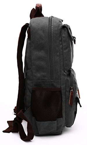 Canvas Backpack, Aidonger Vintage Canvas School Backpack Hiking Travel Rucksack Fits 14'' Laptop (Black-48) by Aidonger (Image #4)