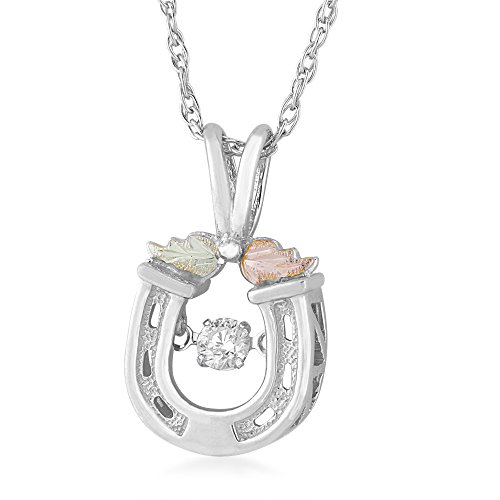 Sterling Siver Black Hills Horse Shoe Pendant with Genuine 1/10 CT Diamond accent and 12k ()
