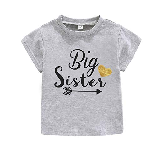 2020 Pant - WINZIK Little Baby Girls Kids Toddlers Outfits Big Sister Print T-Shirt Pullover Tee Tops Clothes Costume Gift (4-5 Years, Grey)