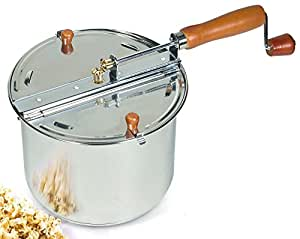 Cook N Home 6.5 Quart Stainless Steel Popcorn Popper Stovetop