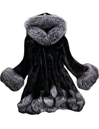 Fhillinuo Faux Fur Coat With Hood For Women (XL, BLACK) (Chinchilla Coats Men)