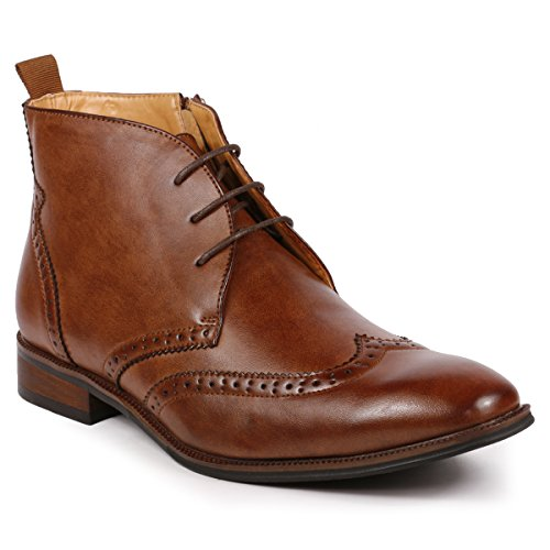 - Metrocharm MC116 Men's Lace Up Perforated Wing Tip Formal Dress Ankle Boots (9.5, Brown)