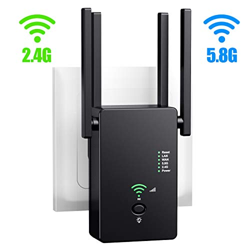 URANT WiFi Range Extender | Up to 1200Mbps |WiFi Repeater, Internet WiFi Booster, Access Point, 2.4 & 5.8GHz Dual Band WiFi Extender| Extend WiFi Signal to Smart Home & Alexa Devices. (Best Wireless Booster 2019)
