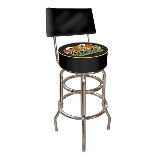 (Texas Hold 'Em Padded Swivel Bar Stool with Back)