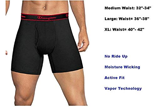 (Champion Mens Elite SmartTemp Vapor Boxer Briefs, 4-Pack  Black Medium)