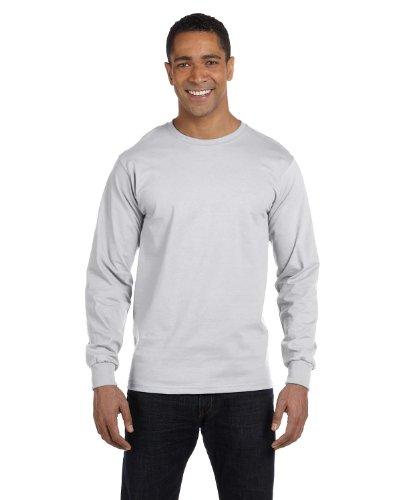 Gildan Men's 5.5 oz., 50/50 Long-Sleeve T-Shirt, Ash Gray, Large