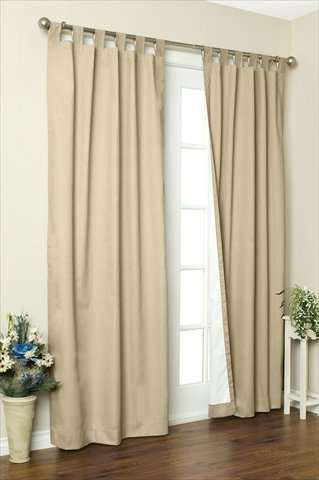 Commonwealth Home Fashions 70292-153-758-63 Thermalogic Insulated Solid Color Tab Top Curtain Pairs 63 in., Khaki
