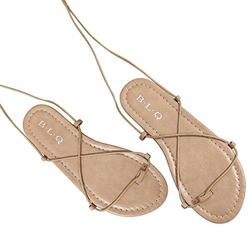 Jamicy Women Fashion Cross-tied Ankle Strap Boho Flat Summer Sandals Shoes Khaki iy3PvcxP3