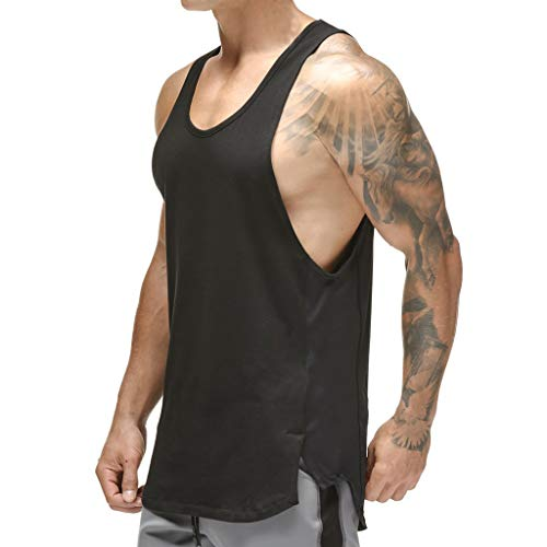 Magiftbox Mens Workout Mesh Quick-Dry Muscle Tank Tops for Bodybuilding Gym Training Black/Camo T09A