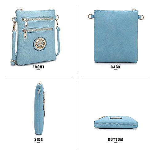 S Women Bag light Bag Purse Crossbody Pockets Faux Lightweight Ladies Clutch Blue Leather Multi Small Shoulder Messenger UxrwqgU6