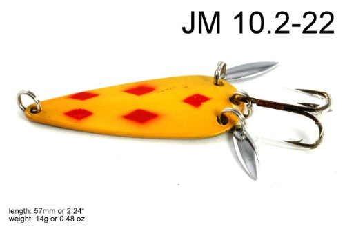 Akuna [JM 10.2] 2.2-Inch 56mm Hand Painted Holographic Casting Spoon With Two Reflective Side Spoons - Great for Bass, Five of Diamonds Mustard, Five of One Color