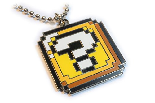 Super Mario World ? QUESTION BLOCK BOX Pixel SNES Charm Pendant Necklace with Ball Chain