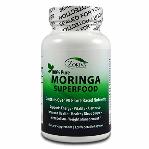 Moringa Oleifera Leaf Powder Capsules - 100% Pure -120 veggie caps - 400mg each (Caps Minerals 120 Free Iron)