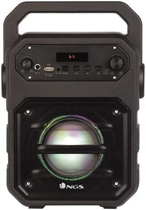NGS Roller Drum - Altavoz Bluetooth portátil de 20W, inalámbrico (Radio FM, Entrada de Audio USB/SD, Entrada Auxiliar de Audio, autonomía 3 Horas) Color Negro