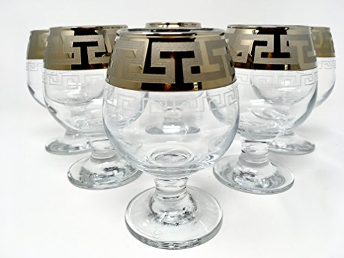 CRYSTAL GLASS SNIFTER GLASSES 8oz./250ml. PLATINUM PLATED SET OF 6 COGNAC BRANDY ARMAGNAC CALVADOS WHISKEY GLASSES ENGRAVED VINTAGE GREEK DESIGN CLASSIC STEM GOBLETS
