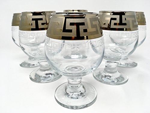 (CRYSTAL GLASS SNIFTER GLASSES 8oz./250ml. PLATINUM PLATED SET OF 6 COGNAC BRANDY ARMAGNAC CALVADOS WHISKEY GLASSES ENGRAVED VINTAGE GREEK DESIGN CLASSIC STEM GOBLETS)