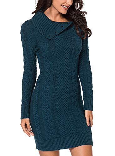Eytino Women Asymmetric Button Collar Cable Knit Bodycon Sweater Dress Jumper,X-Large Green ()