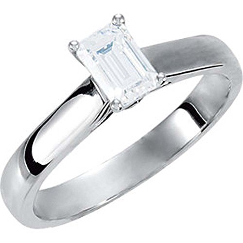 0.05 CTTW Cathedral Style Solitaire Engagement Ring in Platinum ( Size 6 )