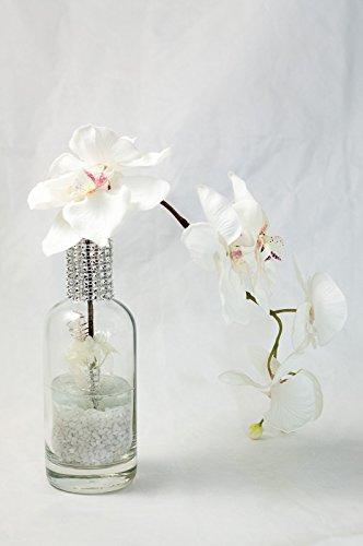 Orquídeas blancas+diamantes de imitación en un florero-línea de la boda-arreglo