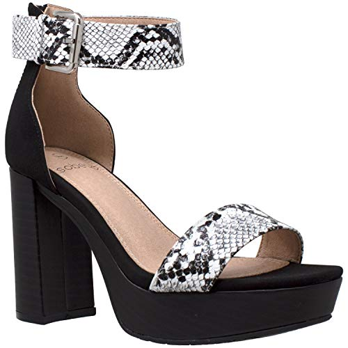 Women's High Platform Sandals Ankle Strap Chunky Block Heels Open Toe Shoes Black Snake Skin SZ 10