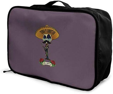 アレンジケース エミリアーノサパタ 旅行用トロリーバッグ 旅行用サブバッグ 軽量 ポータブル荷物バッグ 衣類収納ケース キャリーオンバッグ 旅行圧縮バッグ キャリーケース 固定 出張パッキング 大容量 トラベルバッグ ボストンバッグ